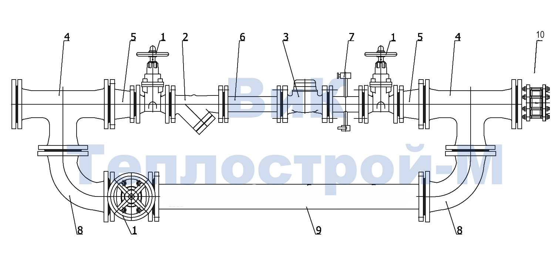 Схема водомерного узла со спецификацией